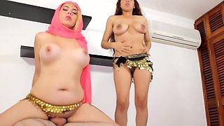Arab Harem Dancers in Hijab Sex Threesome Service Master