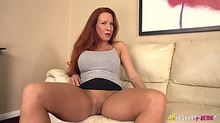 Ardent red haired alone nympho Faye Rampton goes solo to pet herself