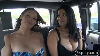 two sexy women flash their tits for some money