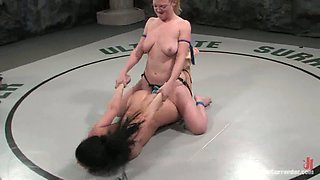 Blonde Darling Wins Wrestling Combat and Strapon Fucks Ariel X