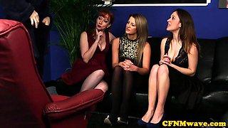 Tugging dom babes teasing CFNM fetish sub
