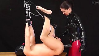 Anal slave on the table