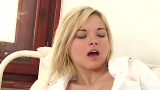 Horny young nurse Zazie Skymm is fucking herself in the hospital