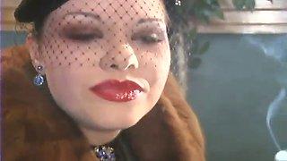 Miss cara leather gloved smoking fetish pov