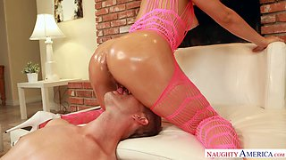 Oiled up sexy slut in pink bodysuit Abella Danger gets dirty with her wild buddy