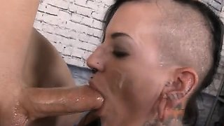 Brunette Pierced Whore Slapped Around And Rough Face Fucking