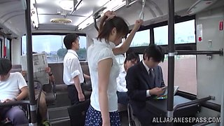 Nanami Kawakam enjoys upskirt banging with a stranger in a bus