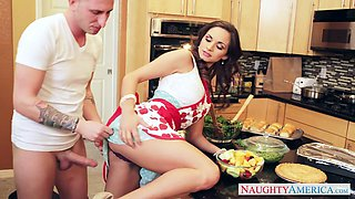 Pretty brunette chick Ashley Sinclair fucks Ike Diezel in the kitchen
