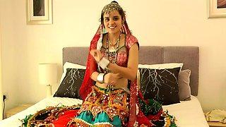 Charming Indian College Girl Jasmine In Gujarati Garba Dress