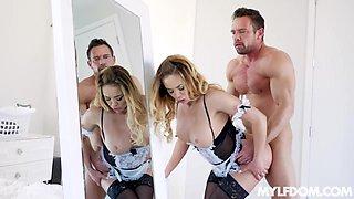 Hot babe in maid uniform Mia Leilani polishes big dick of horny man Johnny