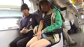 Sex-appealing and cute Japanese slut blowing a massive cock in the bus