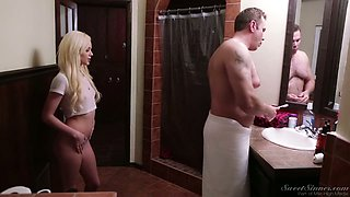 Alluring hottie Elsa Jean seduces her step daddy after taking a shower