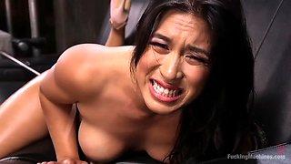 curvaceous asian girl mia li gets her cunt dug by a fucking machine