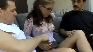 Cute slut in fishnet top+glasses fucks Daddy+old drunk neighbour