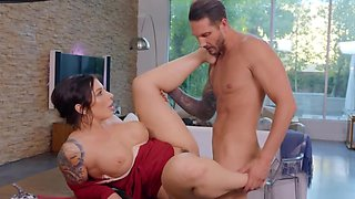 Tattooed MILF's muff is stuffed with mighty penis of her guest