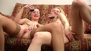 Amazing pussy-fingering-and-licking scene with two blonde lesbians