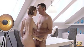 OLD4K. Old male and young colleen have dirty fun
