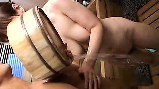 Pale Japanese wife secret AV bathing soapy handjob Subtitled