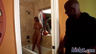 stunning housewife rides on a black shaft