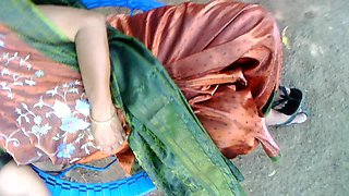 SATIN SILK SAREE AUNTY
