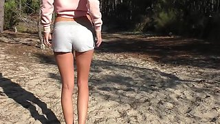 Shy skinny teens get naked at beach