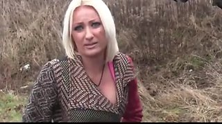 sexy blonde pays for car repair with her pussy outdoorr