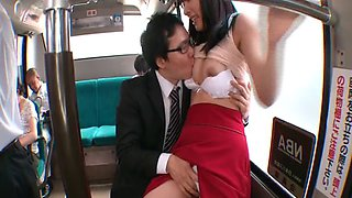 Horny babe gets ravished hardcore by a gang in a public bus