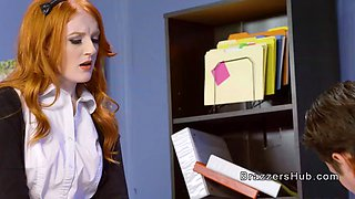 redhead teen rides professors big cock in office