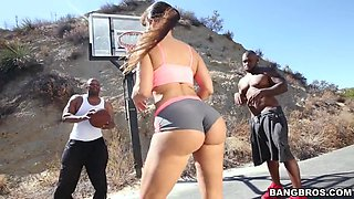 lisa ann playing basketball with two black dudes