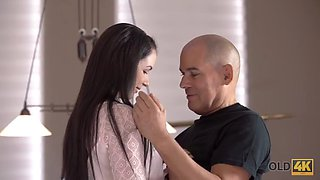 Handsome daddy was prepared to make love with his young wife
