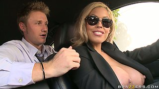Mature business lady Bridgette B gets fucked in Bentley