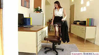 Divine brunette bitch Valentina Nappi fucks a horny dude in the office