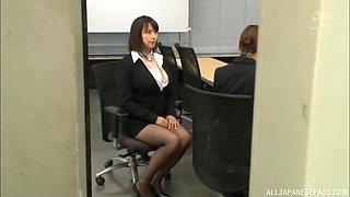 Busty Japanese secretary Haruna Hana jerks off a cock at work